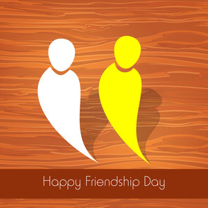 Happy Friendship Day Concept With Two Friends On Wooden Background