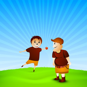 Happy Friendship Day Concept With Two Friends Playing Ball On Blue Background