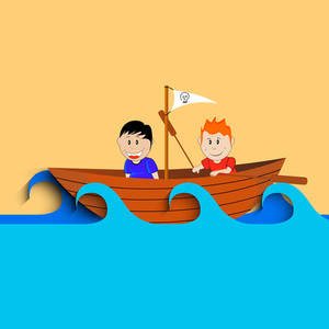 Happy Friendship Day Concept With Two Friends Sailing On Boat