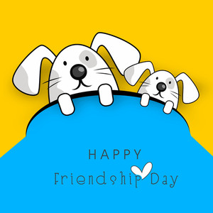 Happy Friendship Day Concept With Two Little Puppies
