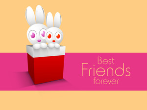 Happy Friendship Day Concept With Two Teddy Bears Coming Out From Red Gift Box