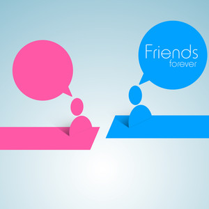 Happy Friendship Day Concept With User Icons And Speech Bubble On Blue Background.