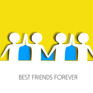 Happy Friendship Day Concept With W Peoples Joining Hands On Blue And Yellow Background.