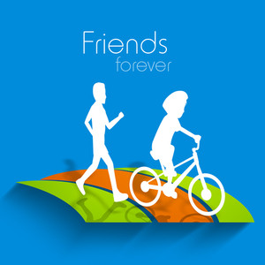 Happy Friendship Day Concept With White Silhouette Of Boys