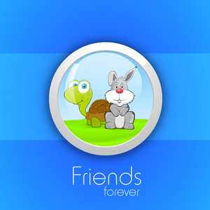Happy Friendship Day Icon With Tortoise And Rabbit On Blue Background.