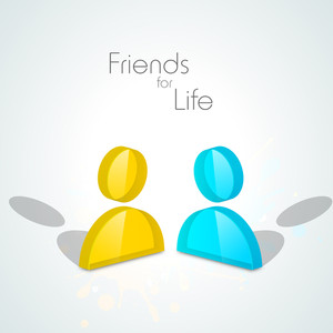 Happy Friendship Day Wallpaper With Two Friends And Text Friends For Life