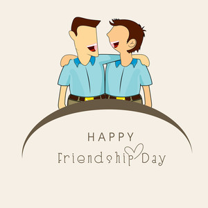 Happy Friendship Day Wallpaper With Two Friends On Grey Background