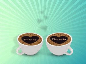 Happy Friendship Day With Two Cups Of Coffee And Text Friends Forever On Rays Background