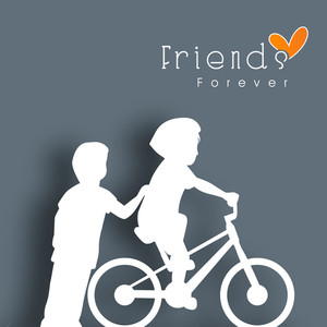 Happy Friendship Day With White Silhouette Of Cute Boys Tryning To Learn Cycling.