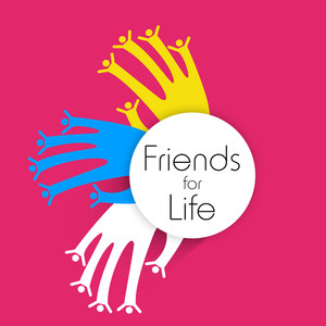 Happy Friendship Dayconcept With Human Hands On Pink Background.
