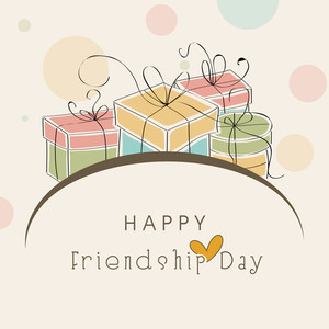 Happy Frienship Day Concept With Colorful Gift Boxes And Stylish Text