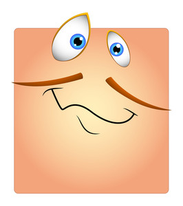 Happy Funny Face With Mustaches Cartoon Smiley