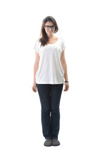 Happy girl in white shirt standing on white background