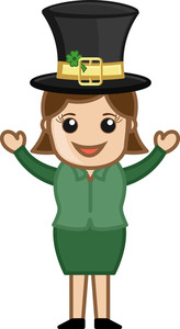 Happy Girl On St. Patrick's Day - Business Cartoon Characters
