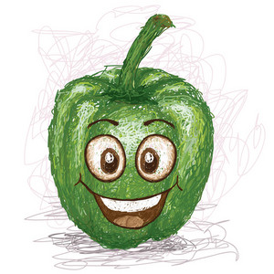 Happy Green Bell Pepper