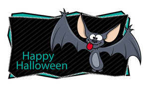 Happy Halloween Banner Along With Cartoon Bat