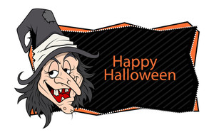 Happy Halloween Banner - Witch Vector Illustration