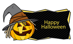 Happy Halloween Banner With Jack O' Lantern