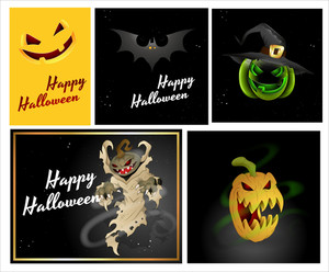 Happy Halloween Cards Vectors
