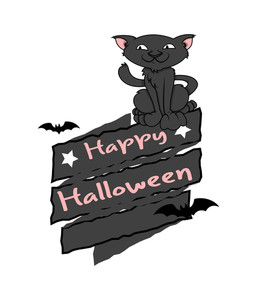 Happy Halloween Cat Vector Graphic