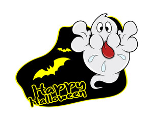 Happy Halloween Ghost Vector Graphic