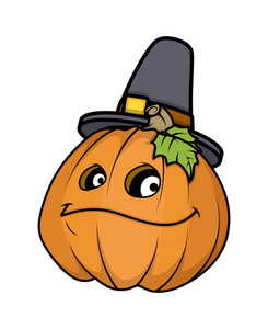 Happy Halloween Pumpkin With Hat Vector