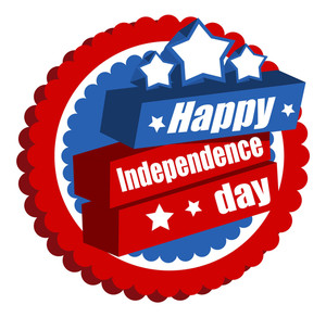 Happy Independence Day Greeting Badge  4th Of July Vector