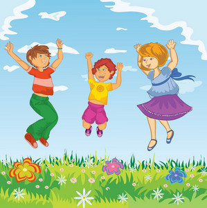 Happy Kids Jumping Vector Illustration