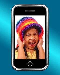 Happy Laughing Young Girl Photo On Mobile Phone