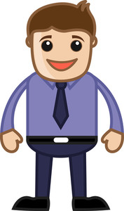 Happy Man In Office - Business Cartoon Character Vector