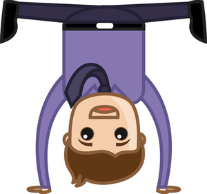Happy Man Upside Down - Office Corporate Cartoon People