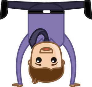 Happy Man Upside Down - Office Corporate Cartoon People