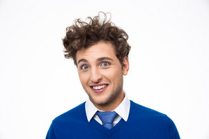 Happy man with curly hair over white background