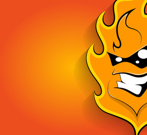 Happy Mascot Fire Face Expression
