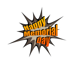 Happy Memorial Day Retro Text Banner