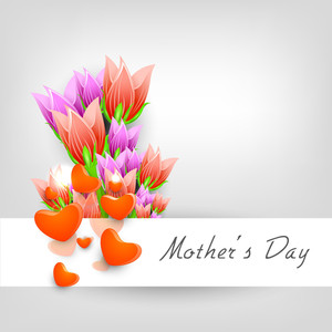 Happy Mother's Day Background With Colorful Flowers And Hearts