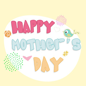 Happy Mothers Day Background With Colorful Text