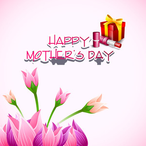 Happy Mothers Day Background With Flowers And Gift Boxes