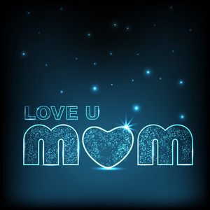 Happy Mothers Day Background With Shiny Text Love You Mom