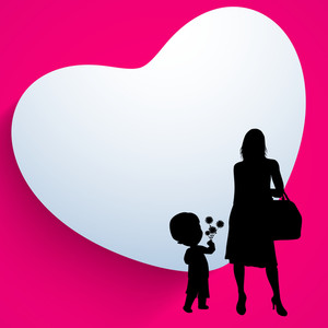 Happy Mothers Day Background With Silhouette Of A Mother And Her Child