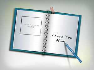 Happy Mothers Day Concept With Open Notebook