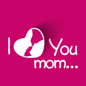 Happy Mothers Day Concept With Text I Love You On Pink Background
