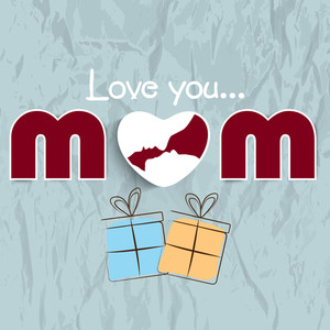 Happy Mothers Day Concept With Text Mom On Grey Background