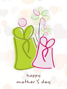 Happy Mother's Day Floral Decorated Greeting Card Or Background With Gift Boxes