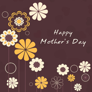 Happy Mother's Day Floral Decorated Greeting Card Or Background