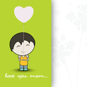 Happy Mother's Day Floral Decorated Greeting Card With Illustration Of Cute Boy Holding Heart Shape Balloon