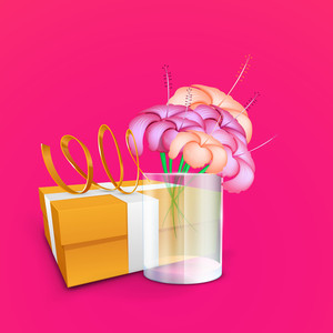 Happy Mothers Day  With Flowers And Gift Box