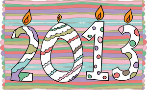 Happy New Year 2013 Made With Candles. Vector Illustration