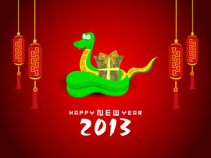 Happy New Year Background With 2013 New Year Symbol Snake
