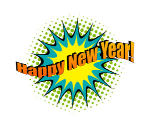 Happy New Year Retro Text Banner